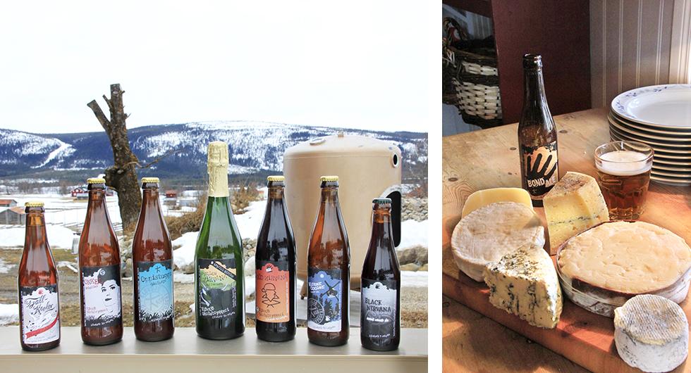 Till vänster: Ölsmak. På Klövsjö gårdsbryggeri kan du både smaka på brygderna och njuta av lokal mat. Till höger: Vällagrat. Ostarna från Kullens gårdsmejeri passar utmärkt till en ale från bryggeriet.