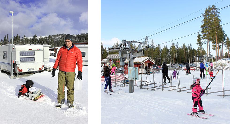 Till vänster: Vargcamping. Petter Ström med familj stortrivs på Vargens Camping. Till höger: Småttingar. I Björnrike finns flera snälla barnbackar.