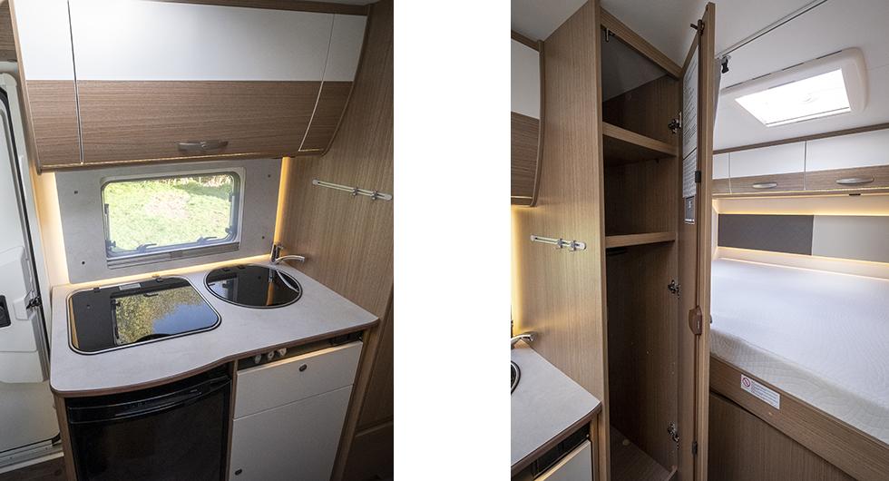 Till vänster: Köket är kompakt men har arbetsytor runt diskho och spis.Till höger: Lyxigt med så pass stor garderob i en så liten husbil!
