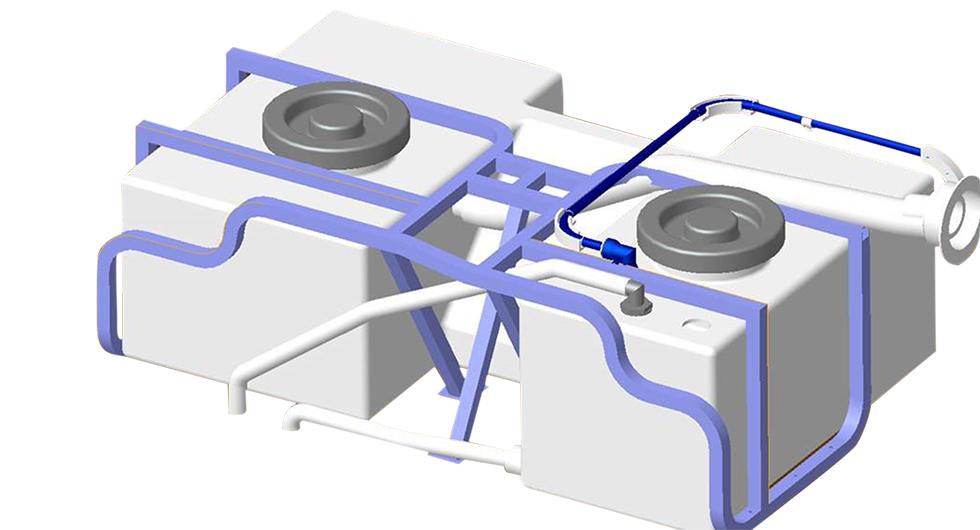 Metallramar förankrar vattentank, batteri och kylskåp (i vissa utsatta planlösningar) i Kabes husbilar.