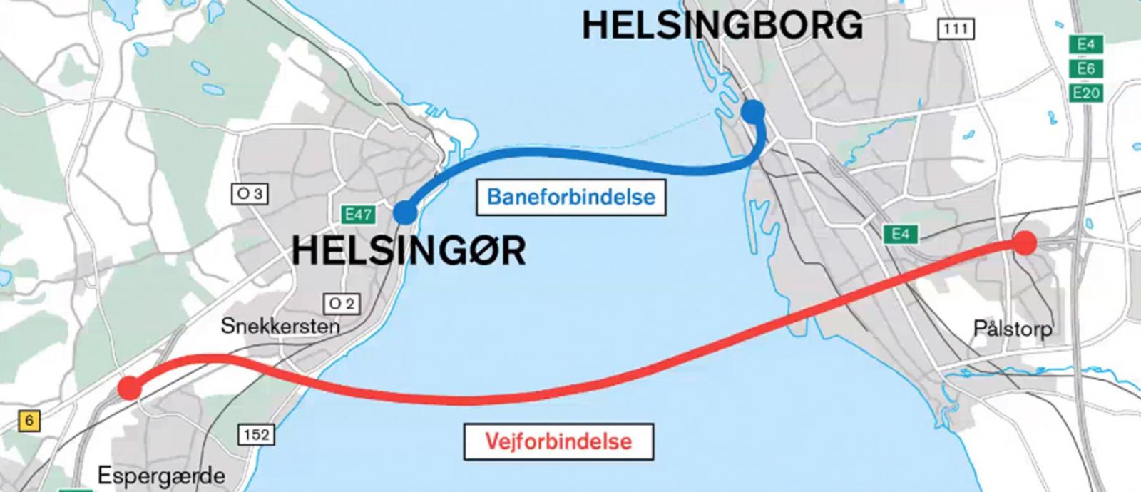 Planen är att bygga en biltunnel med två rör (rött streck) och en tågtunnel med ytterligare två rör (blått streck)