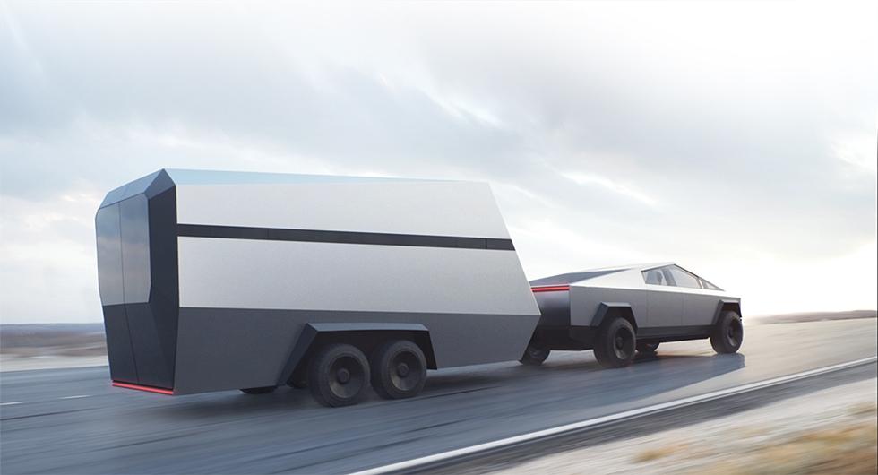 """Snygg eller ful? Med en design som flirtar med """"Tillbaka till framtiden"""" är  Cybertruck  unik. Vad tycker du, är det inte lite gammeldags med runda hjul?"""