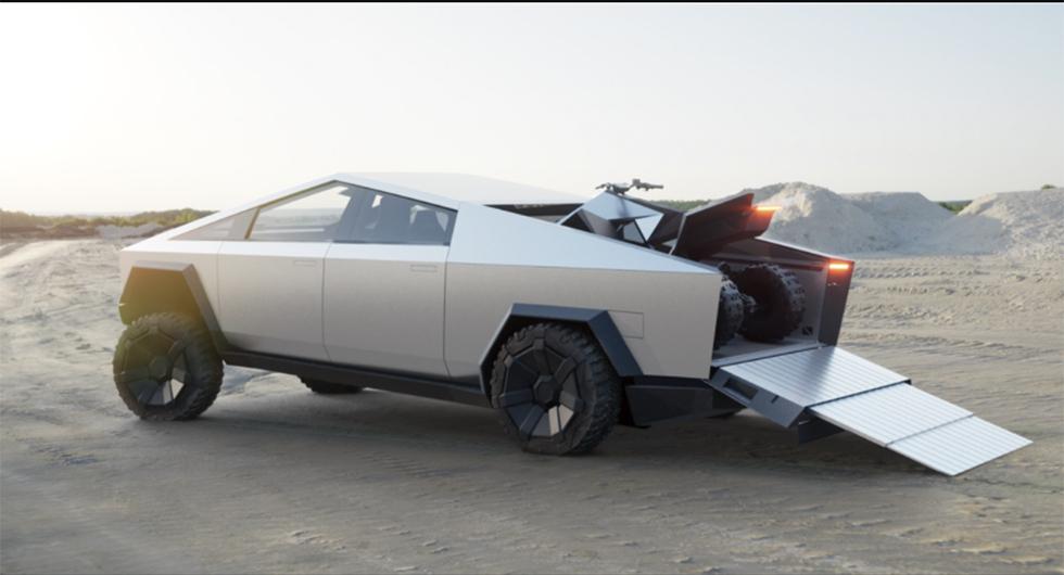 Med en uppkörningsramp går det att ta med sig fyrhjulingen på flaket (som är större än det kan verka på bild).
