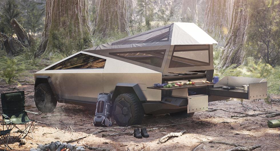 Campingvarianten av elbilen Tesla Cybertruck har en kåpa för väderskyddat sovrum samt utekök.