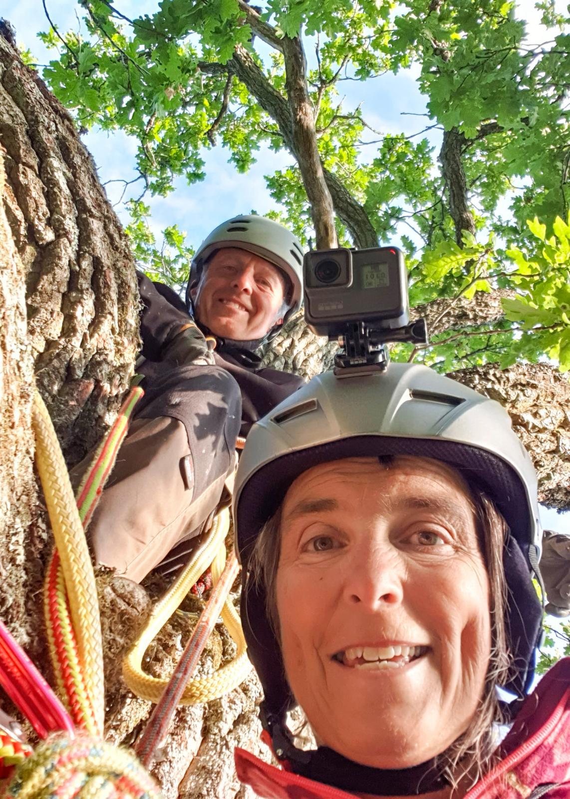 We did it! Här har Anna och Kenneth klättrat 15 meter upp i en ek, under sommarens svemester.