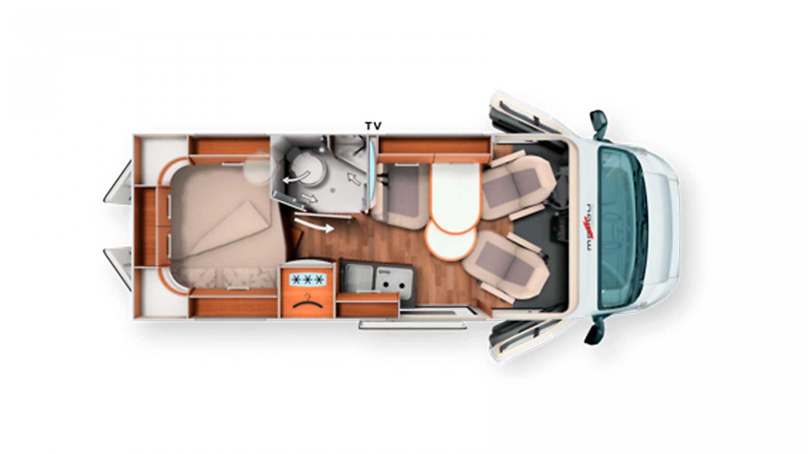 Mellanlängden 600 har större badrum, högt placerad kylskåp och rymlig garderob under kylen.