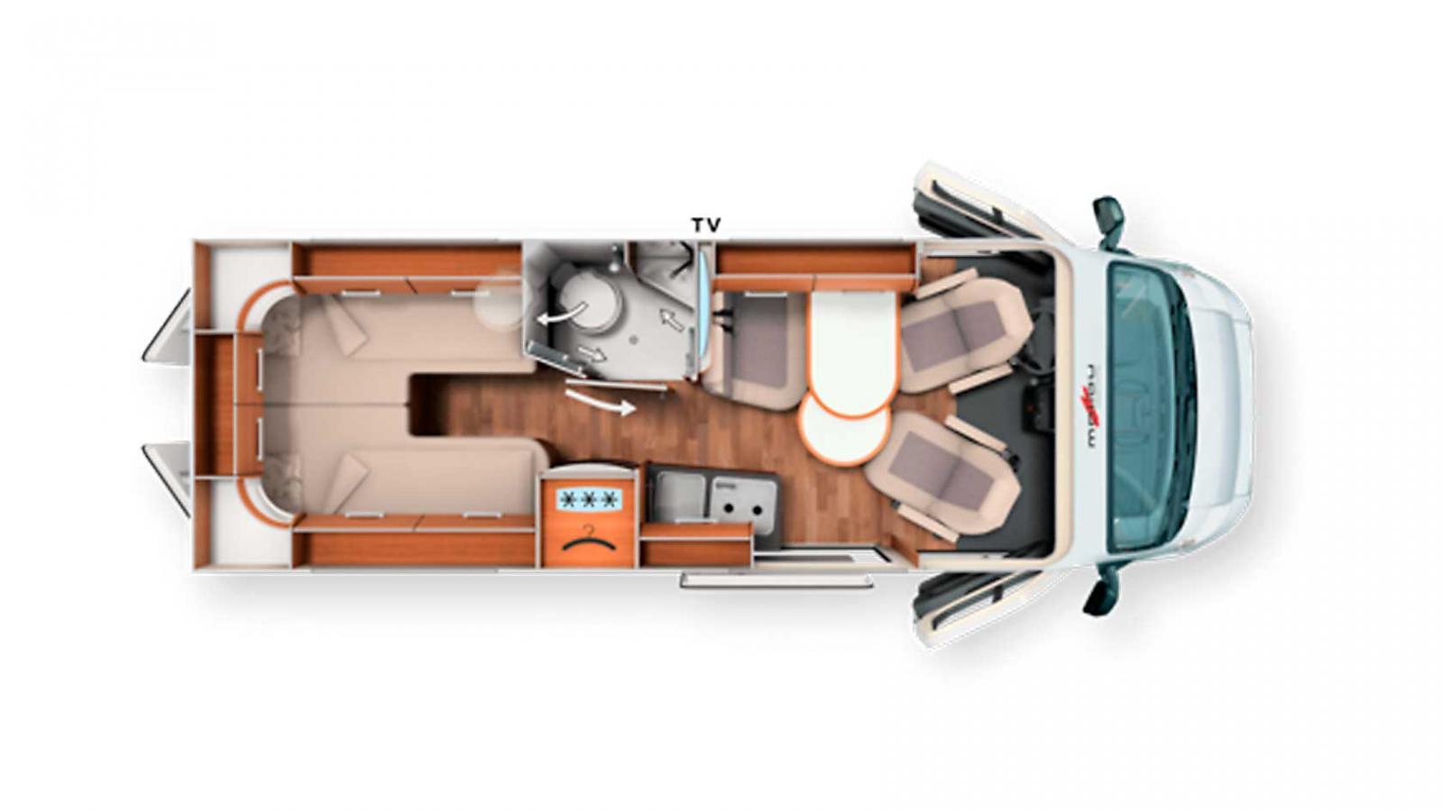 Stora 640 har långbäddar. Annars är den likadan som 600. Lastlängd, förvaring och vikt skiljer.