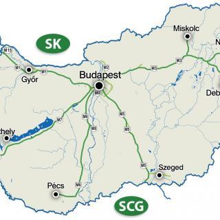 Det stjärnformade motorvägsnätet utgår från Budapest