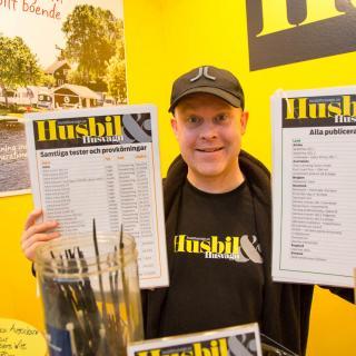 Vår testchef, Mikael Galvér, poserar stolt med listorna över både tester och resmål vi publicerat eftersom du kan köpa äldre nummer av tidningarna i vår monter!
