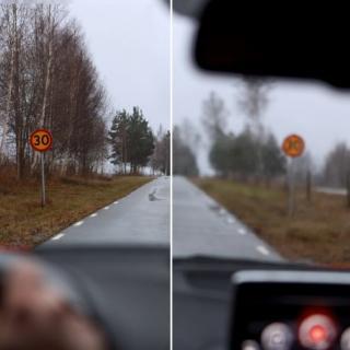Höger sida visar en uppskattning av hur var sjätte bilist ser. De har en skärpa som är 0,5 visus eller sämre vilket innebär att de börjar se oskarpt på ca 1-2 meters avstånd.