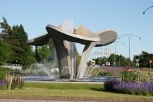 2. Invid Kupolen i Borlänge ligger denna rondell, fotad av Stefan Rundh.