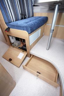 El och värmepanna under soffan samt låda i golvet.