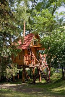 På Kneippbyn Resort utanför Visby finns en trädkoja som gör både barn och vuxna glada.