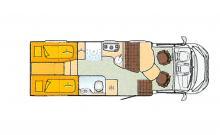 Populär planlösning med långbäddar och rymligt badrum i bilens hela bredd.