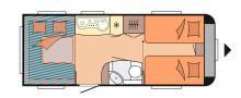 Husvagnen Hobby De Luxe 515 UHL har nedsänkbar säng vilket ger många möjligheter.