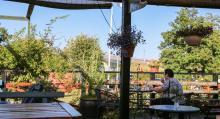 Mysig utsikt från kaféets  uteservering på ställplatsen.