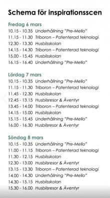 Här är programmet för alla mässdagar
