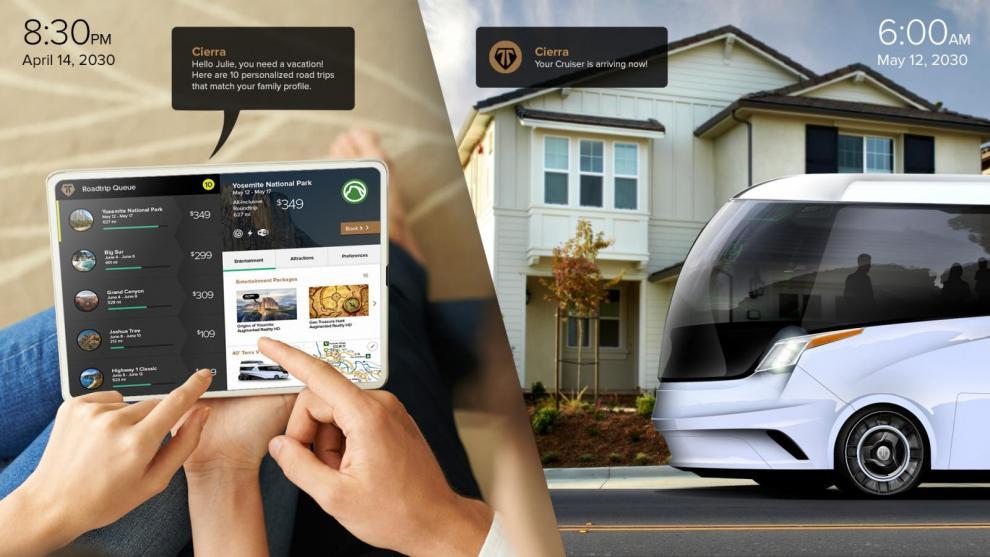"""Den digitala reseguiden Cierra med förslag på resmål i olika prisklasser. """"Klicka i din egen resa med sevärdheter eller välj ett paketförslag."""" När det är dags att åka kommer husbilen (Cruiser) och hämtar familjen utanför dörren."""