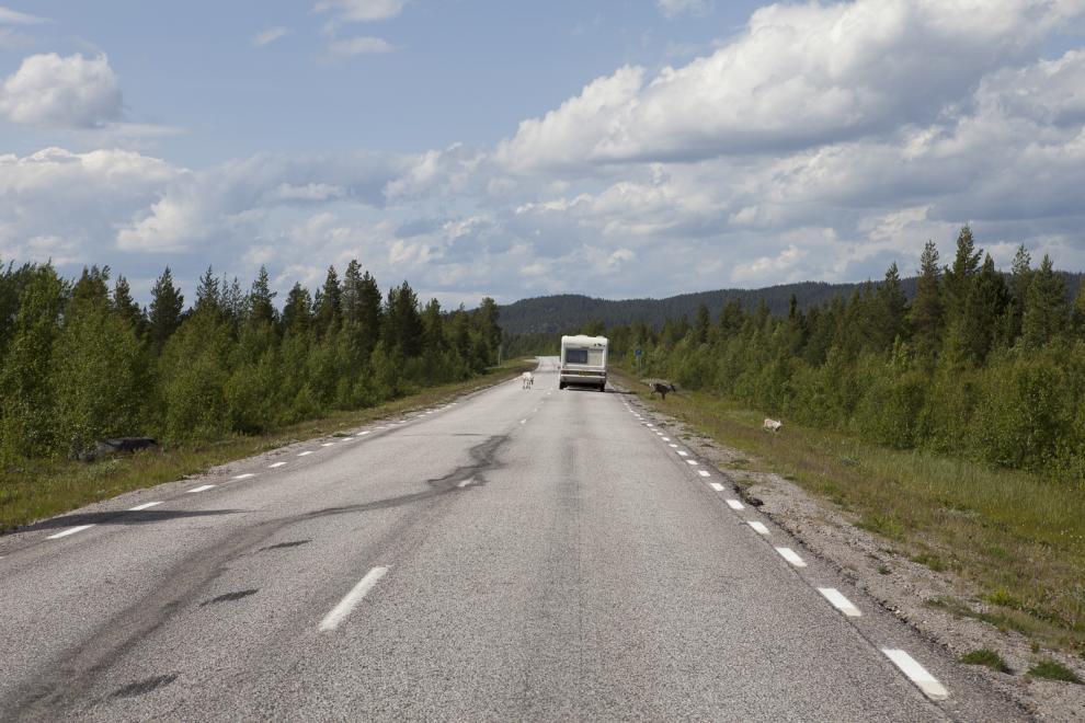 Vägarna norröver är långa och ofta har man vägen helt för sig själv.