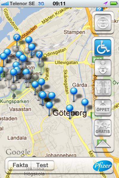 Offentliga toaletter i storstäder via app