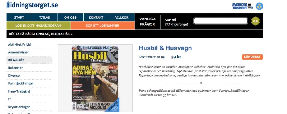 Beställ Husbil & Husvagn direkt på nätet