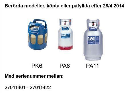 Safety Alert - Farligt fel på gasolflaskor