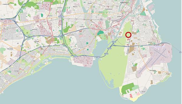 Vid den röda cirkeln planeras Köpenhamns citycamping
