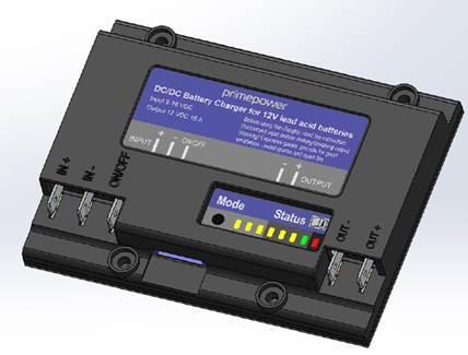 Batteriladdare mellan bil och husvagn.