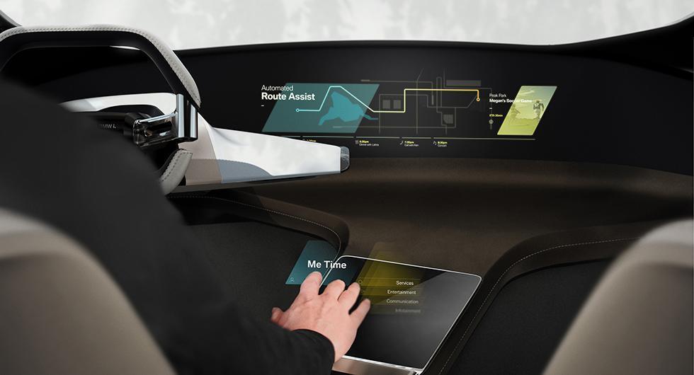 Svävande pekskärm styr bilens funktioner