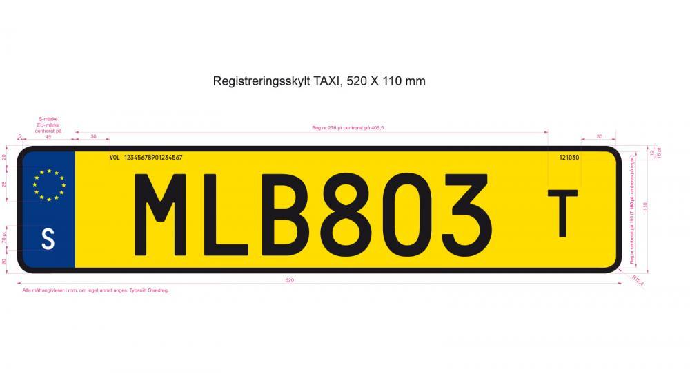 """Så här har taxiskylten sett ut hittills men nu försvinner det stansade """"T"""" som funnits till höger om registreringsnumret."""
