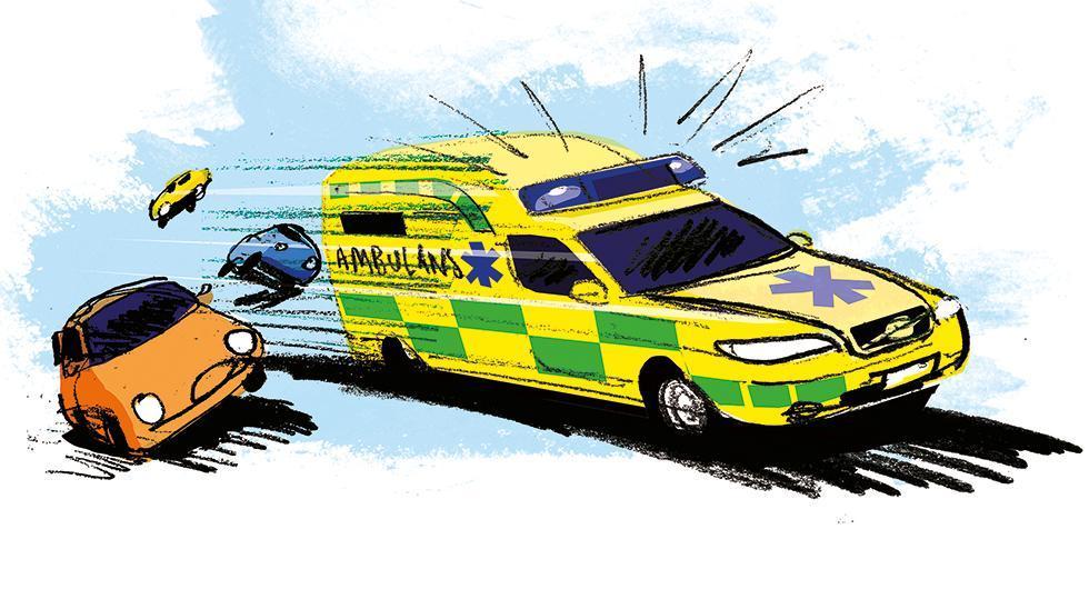 Frågeställaren undrar om man har rätt att köra för fort för att underlätta framkomligheten för utryckningsfordon. Illustration: Johan Isaksson.