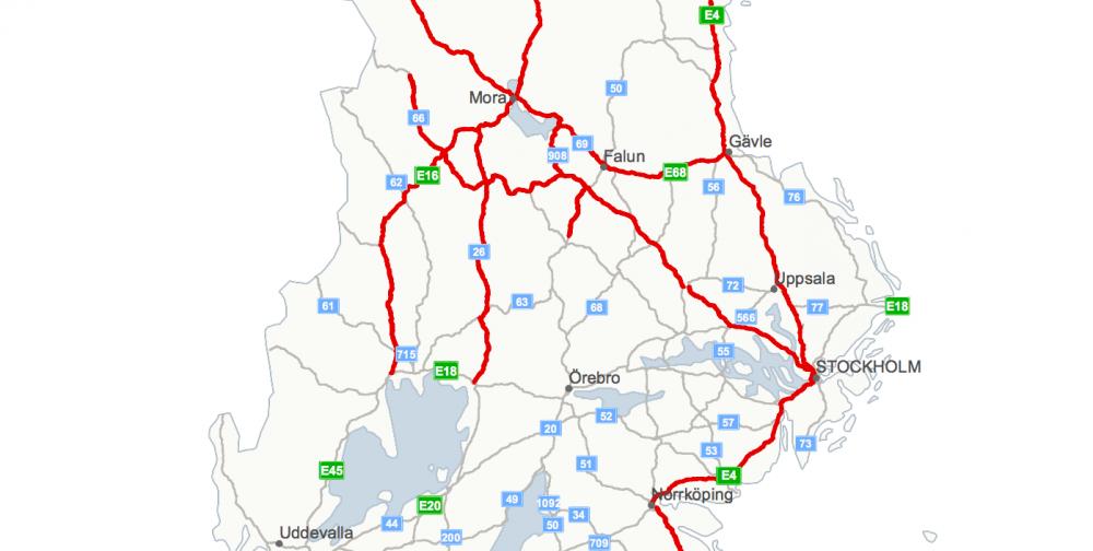 Karta på hela landet hittar du på Trafikverkets hemsida