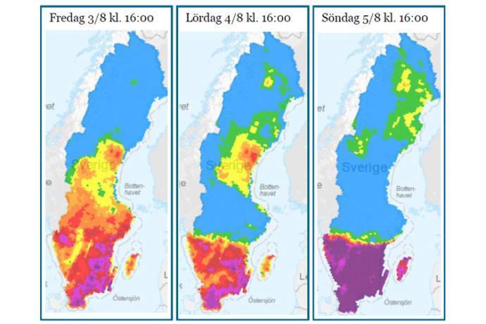 Extremt hög brandrisk under helgen i södra och mellersta Sverige