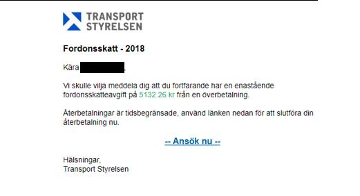 Falska mail från Transportstyrelsen