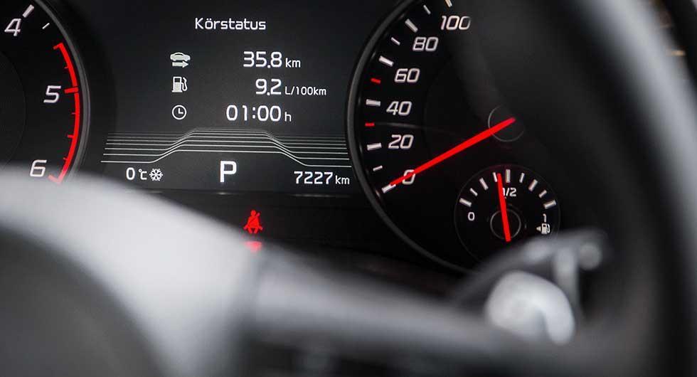 Bilprovningen inför en jämförelsekontroll av mätarställningen