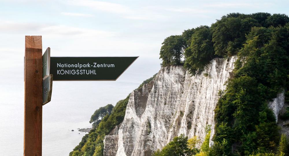 Kalksten ger spektakulärt vita klippbranter. Königsstuhl är 118 meter hög.