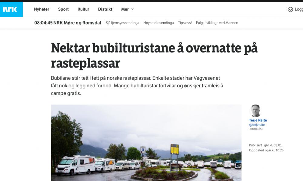 Norska rastplatser är inte ställplatser