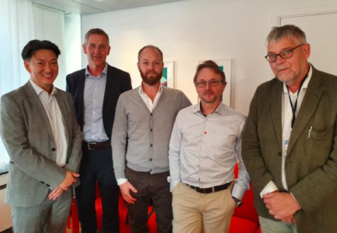 Från vänster: Mattias Landgren, Infrastrukturdepartementet, Tomas Haglund, HRF, Lars Bergholm, HRF, Mikael Blomqvist, HRF, och Leif Jakobsson, Finansdepartementet.