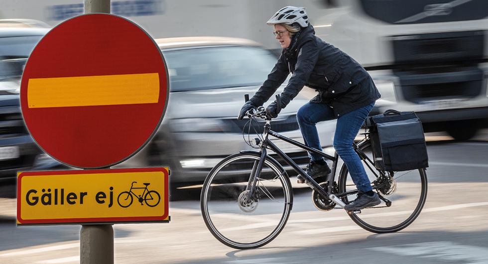 Görs skyltningen på det här sättet ska det även i fortsättningen gå bra att cykla mot bilarnas färdriktning.