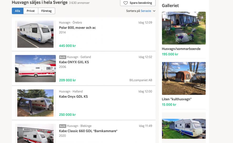 Allt större intresse för begagnade husbilar och husvagnar