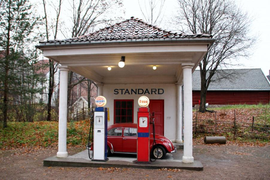 Den här norska bensinstationen finns numer på museum