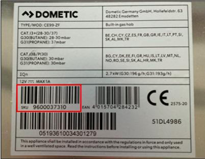 Här hittar du SKU-numret på tillverkningsetiketten