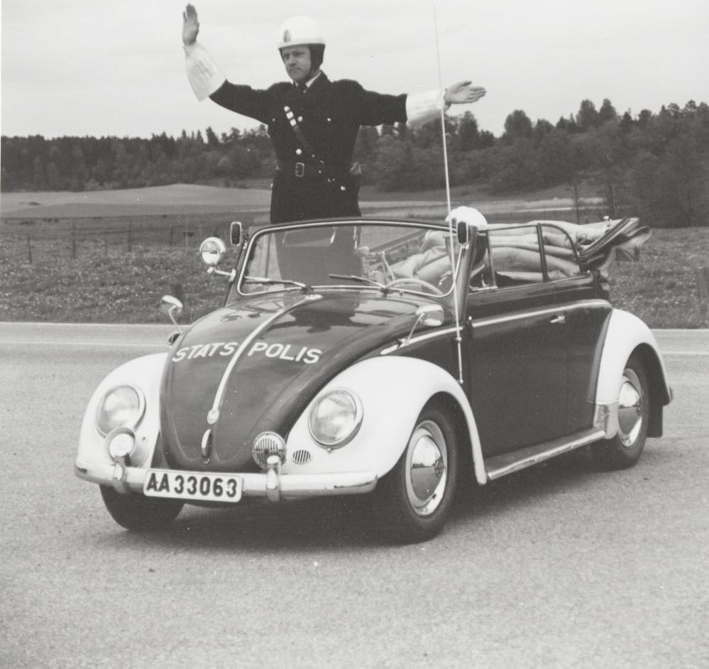 Det här var den första Volkswagen Typ 1 som den svenska polisen köpte in.