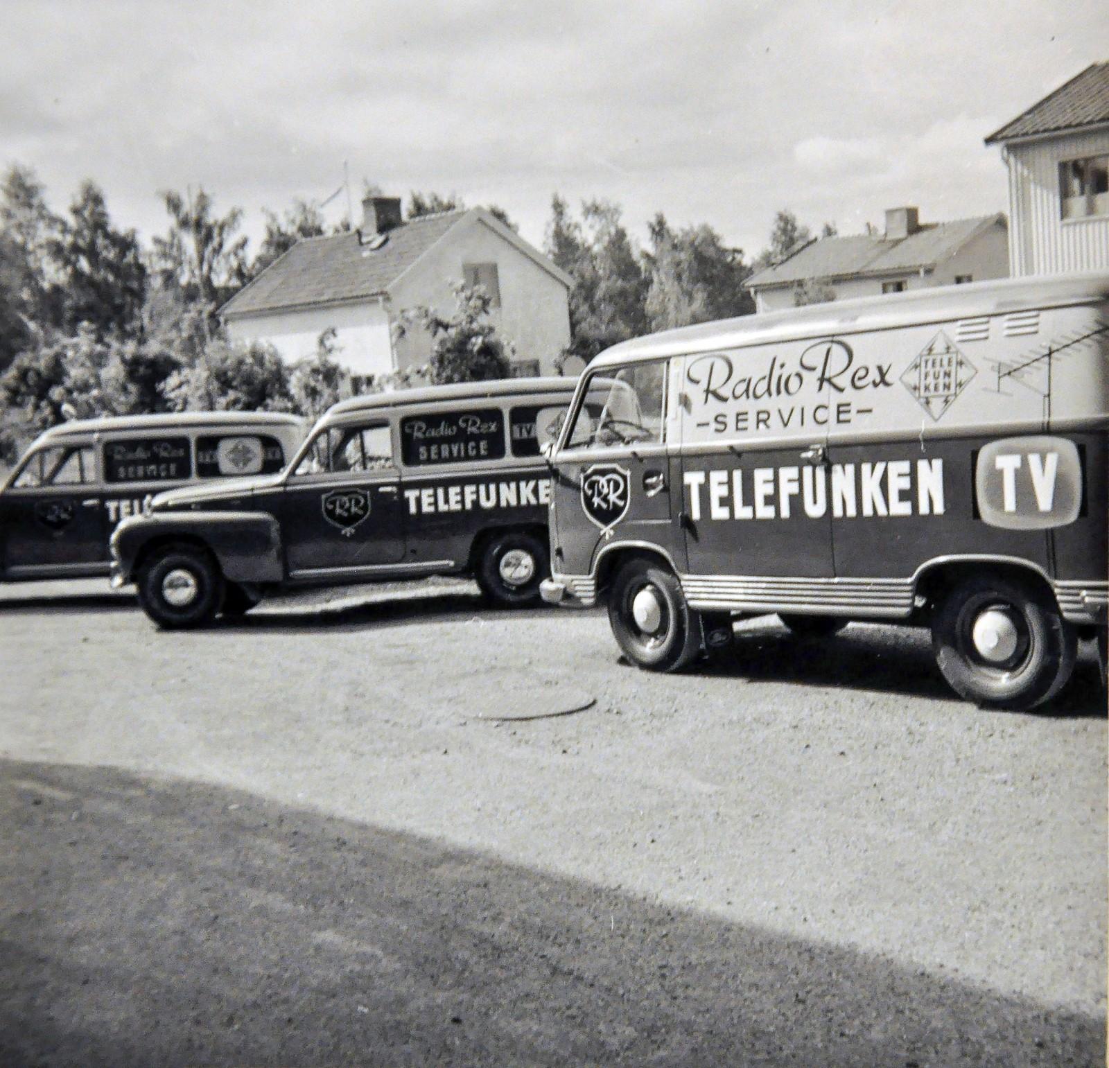 Rex Radio-service. Två Duetter och en Ford Taunus Transit – vilken uppställning!