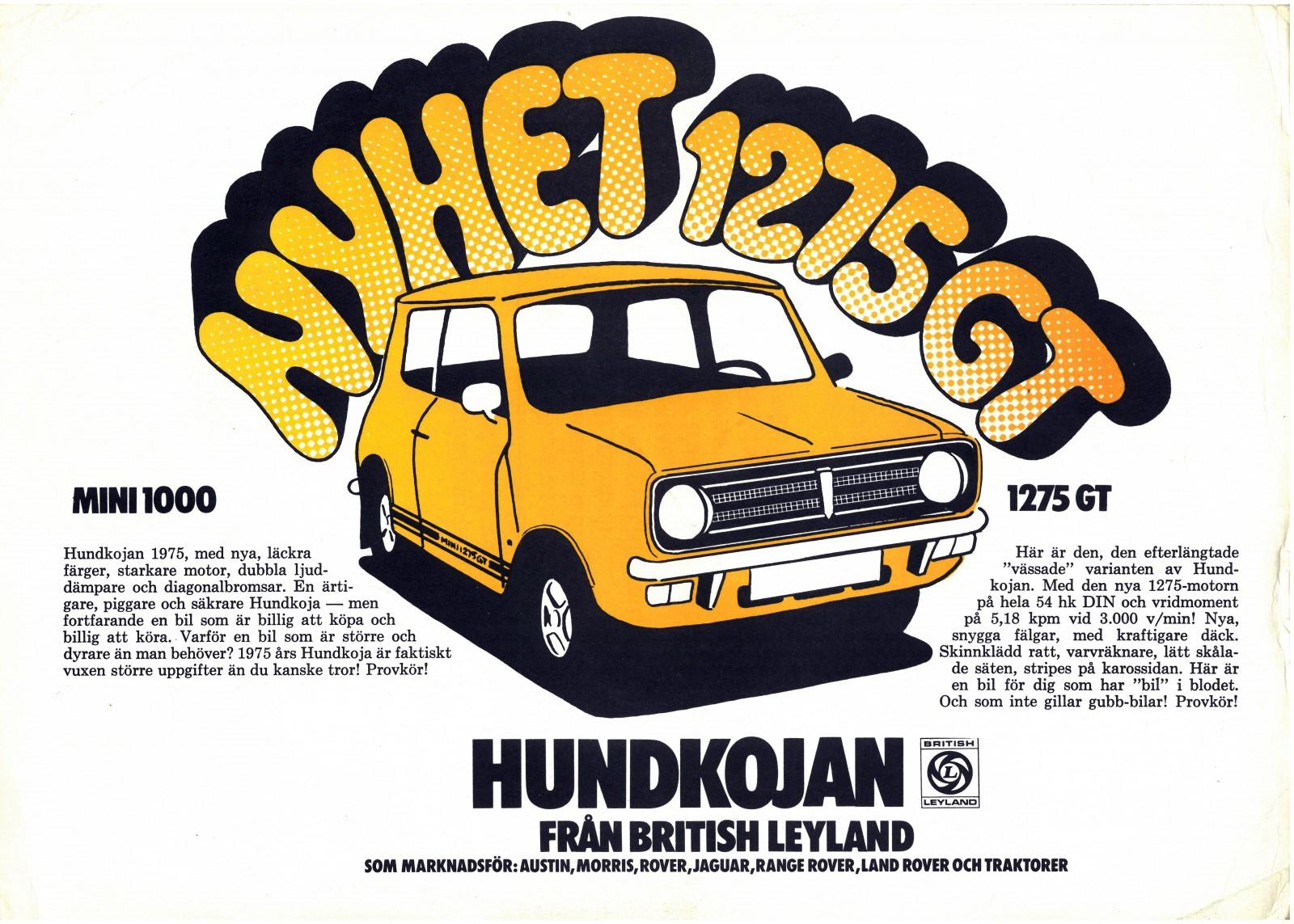 När 1275 GT kom till Sverige 1974 fick någon som förhoppningsvis var duktig på annat än att teckna bilar göra reklambladet.