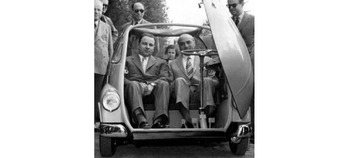 Renzo Rivolta och Ermenegildo Preti som låg bakom designen på Isettan