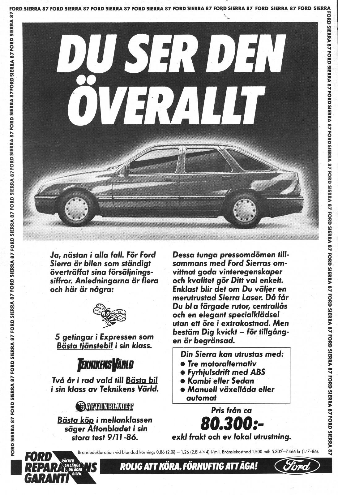 Svensk annons från 1987.