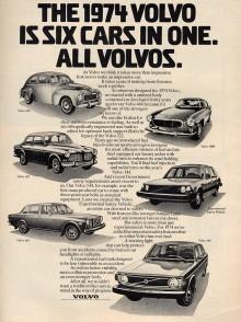 Volvos efterkrigshistoria på en sida. Men tecknaren fick nog inte så många fler jobb, säkerhetsbilen VESC ser till exempel både vindögd och kobent ut.