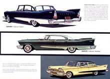 1958 års Plymouth hade dubbla strålkastare och stora fenor. Savoy var mellanmodellen och fanns med både sexa och V8.