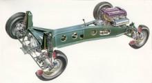 Nydanande chassiteknik signerad Colin Chapman, ägare och skapare av Lotus.